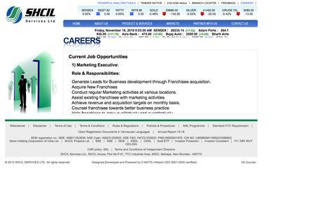 Screenshot of Jobs Page shcilservices.com - SHCIL Services Ltd - captured Nov. 18, 2016