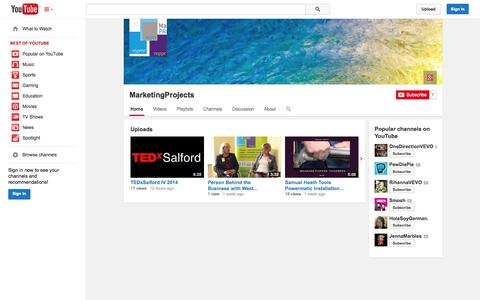Screenshot of YouTube Page youtube.com - MarketingProjects  - YouTube - captured Oct. 23, 2014