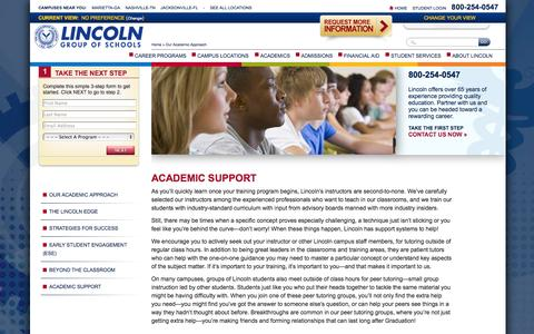 Screenshot of Support Page lincolnedu.com - Academic Support | Lincoln Tech - captured Oct. 10, 2014