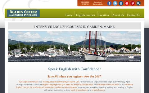 Screenshot of Home Page acadiaenglish.com - Intensive English Language Courses for Adults, Professionals, Executives: Acadia Center for English Immersion – Camden, Maine, USA - captured Nov. 20, 2016