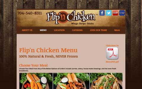 Screenshot of Menu Page flipnchicken.com - Flip'n Chicken Menu | Home-Made Wings | Best Wings in Charlotte - captured Aug. 15, 2018