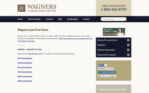 Screenshot of Press Page wagners.co - Nova Scotia Injury Lawyer :: Wagners Law Firm News :: Halifax Accident Lawyer - captured Oct. 27, 2014