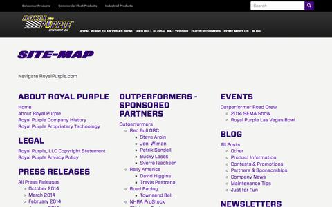 Screenshot of Site Map Page royalpurple.com - Site-Map | Royal Purple - captured Oct. 31, 2014