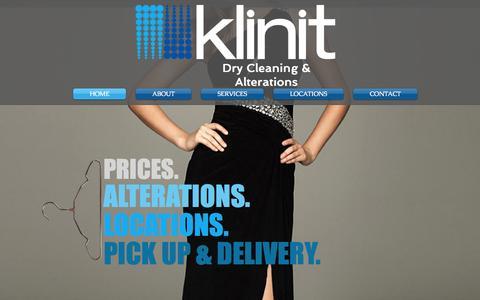 Screenshot of Home Page klinitcleaners.com - Klinit Cleaners - captured June 17, 2015