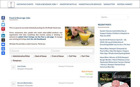Screenshot of Jobs Page eatdrinkri.com - Food & Beverage Jobs – Eat Drink RI - captured Sept. 27, 2018