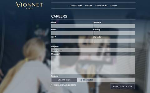 Screenshot of Jobs Page vionnet.com - Careers | Vionnet - captured Sept. 19, 2014