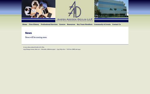 Screenshot of Press Page aadcpas.com - News | Ahern Adcock Devlin LLP - captured Oct. 4, 2014