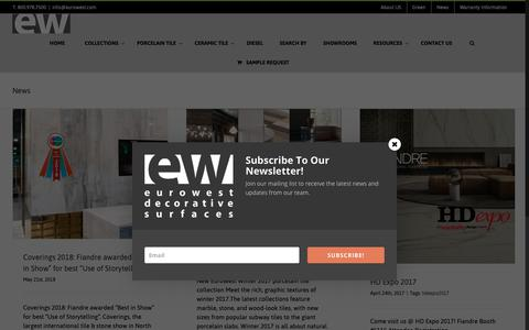 Screenshot of Press Page eurowest.com - News | EuroWest Surfaces - captured Sept. 29, 2018