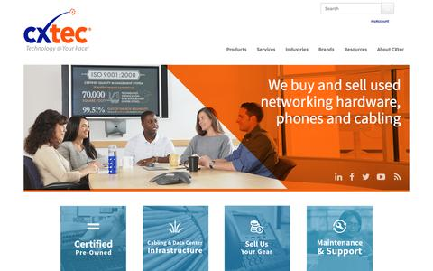 Screenshot of Home Page cxtec.com - Used Cisco, Nortel, Avaya, 3Com, HP   Network Hardware - Routers, switches, business phones - captured July 10, 2016