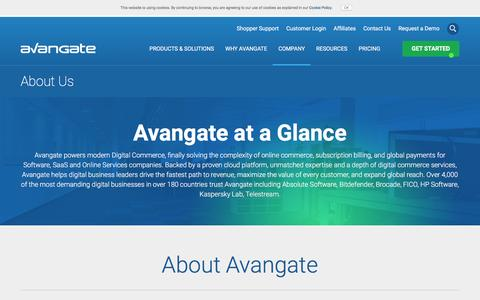 Screenshot of About Page avangate.com - International Commerce Provider for Software and Online Services Companies - captured Jan. 26, 2017