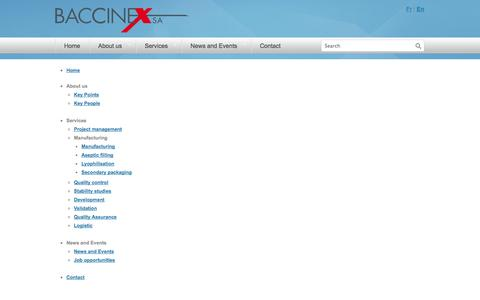 Screenshot of Site Map Page baccinex.com - Sitemap - Baccinex - Pharmaceutical manufacturer - captured Oct. 5, 2014