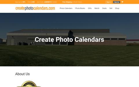 Screenshot of About Page createphotocalendars.com - About Create Photo Calendars - captured Feb. 8, 2018