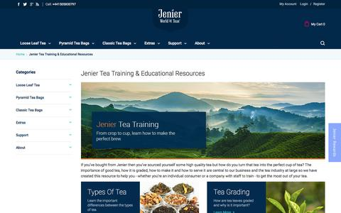 Screenshot of Support Page jenierteas.com - Tea Training and Resources - captured July 1, 2017