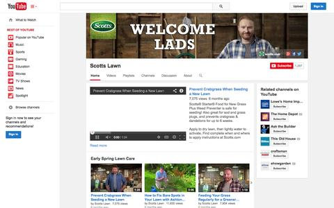 Screenshot of YouTube Page youtube.com - Scotts Lawn  - YouTube - captured Oct. 26, 2014