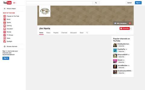 Screenshot of YouTube Page youtube.com - Jim Harris  - YouTube - captured Oct. 23, 2014