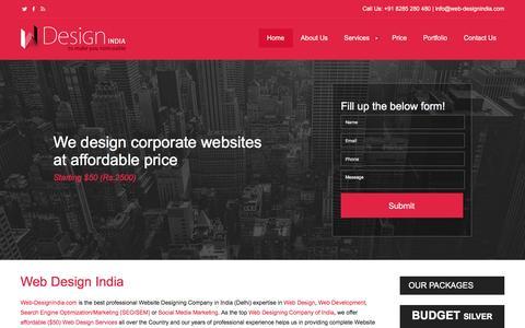 Screenshot of Home Page web-designindia.com - Web Design India, Website Designing Company Delhi Gurgaon, Website Designer India - captured Dec. 4, 2016