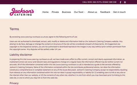 Screenshot of Terms Page catering-northeast.co.uk - terms - Jacksons Catering - captured Oct. 13, 2018