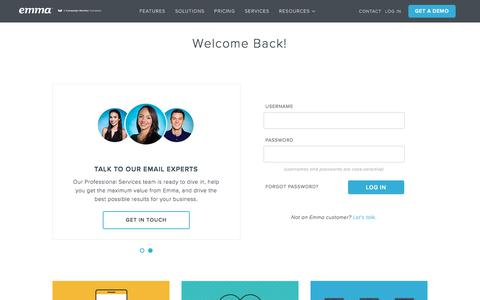 Screenshot of Login Page myemma.com - Login | Emma Email Marketing - captured June 28, 2018