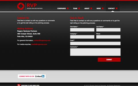Screenshot of Contact Page rogersvp.com - Contact Us | Rogers Venture PartnersRogers Venture Partners - captured Oct. 26, 2014