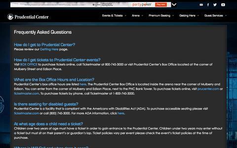 Screenshot of FAQ Page prucenter.com - Prudential Center | FAQ - captured Sept. 22, 2014