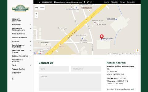 Screenshot of Contact Page americanbeddingmfg.com - Contact Us | American Bedding MFG - captured Feb. 6, 2016