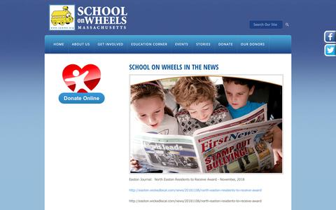 Screenshot of Press Page sowma.org - School on Wheels - Massachusetts   - In the News - captured Nov. 12, 2018