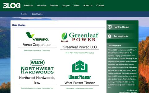 Screenshot of Case Studies Page 3log.com - 3LOG Timber and wood products company case studies - captured Oct. 25, 2017