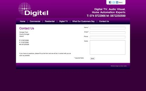 Screenshot of Contact Page digitel.ie - Audio Video Specialists, Home Automation, Design and Installation of Sound and Visual Systems Contact Us - captured Sept. 30, 2014