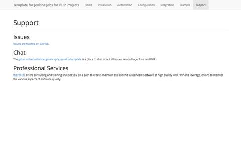 Screenshot of Support Page jenkins-php.org - Template for Jenkins Jobs for PHP Projects: Support - captured Nov. 4, 2014