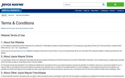 Screenshot of Terms Page joycemayne.com.au - Terms and Conditions | Joyce Mayne Australia - captured Sept. 20, 2018