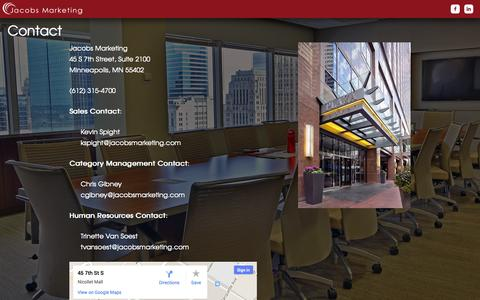 Screenshot of Contact Page jacobsmarketing.com - Jacobs Marketing | Minneapolis, MN | Sales and Category Management - captured Sept. 30, 2014