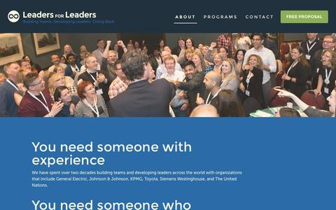 Screenshot of About Page leadersforleaders.ca - Leaders for Leaders :: About - captured May 16, 2017