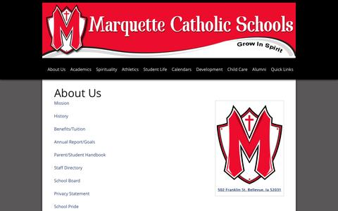Screenshot of About Page marquettecatholic.com - About Us  Marquette Catholic Schools | Marquette Catholic Schools - captured March 12, 2016
