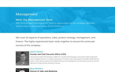 Screenshot of Team Page jartechnologies.com - Management - JAR Technologies - captured Nov. 18, 2016