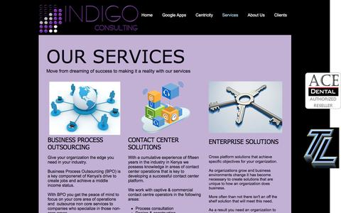 Screenshot of Services Page indigoconsult.com - Consulting Services - captured Nov. 19, 2016