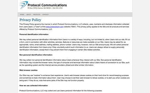Screenshot of Privacy Page protocolcom.com - Protocol Communications - Privacy Policy - Providing for your voice, data, and cloud communication needs - Seattle - captured Feb. 1, 2016