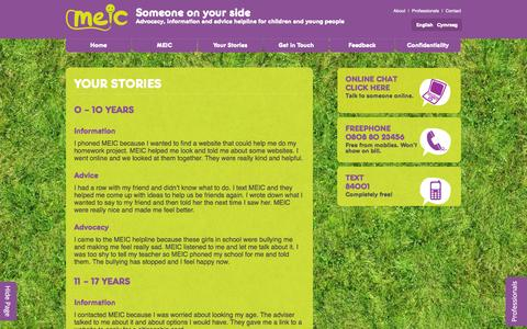 Screenshot of Case Studies Page meiccymru.org - Meic Cymru | Your Stories - captured Oct. 27, 2014