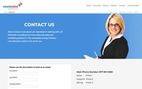 Screenshot of Contact Page modsolar.net - Contact | ModSolar - captured Oct. 18, 2018