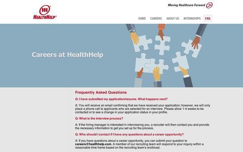 Screenshot of FAQ Page silkroad.com - HealthHelp | Careers - captured Sept. 12, 2014