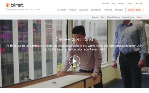 Screenshot of Jobs Page birst.com - Careers in BI and Analytics - Work with Birst - captured July 23, 2016