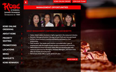 Screenshot of Team Page kobesteakhouse.com - Management Opportunities - Kobe Japanese Steakhouse - captured Oct. 15, 2018