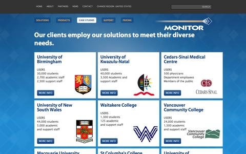 Screenshot of Case Studies Page monitorbm.com - Clients use Monitor Solutions to Take Control of Print & other Costs - captured May 24, 2016