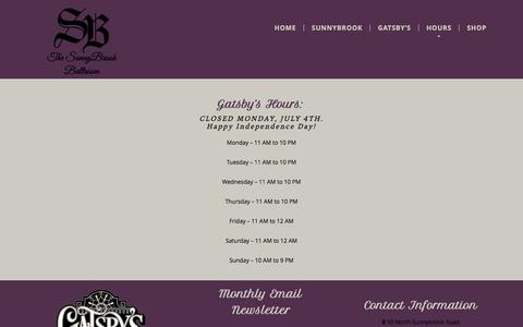 Screenshot of Hours Page thesunnybrook.com - Hours and Location for The SunnyBrook - captured June 29, 2016