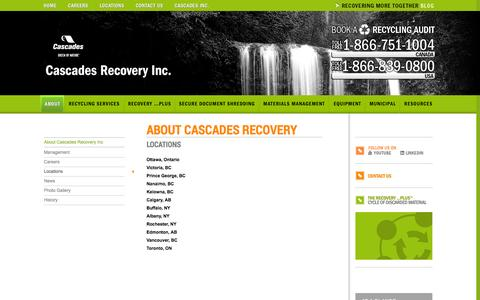 Screenshot of Locations Page recoverycascades.com - Locations | Cascades Recovery Inc - captured Oct. 9, 2014