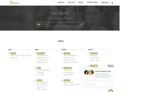 Screenshot of Contact Page knowlarity.com - Cloud Based Customer Contact Center Solutions - Knowlarity.com - captured April 30, 2016