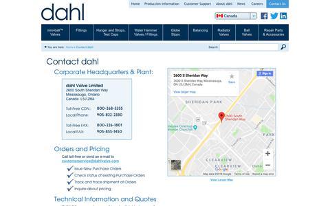 Screenshot of Contact Page dahlvalve.com - Contact dahl   Dahl Valve Limited - captured Oct. 25, 2018