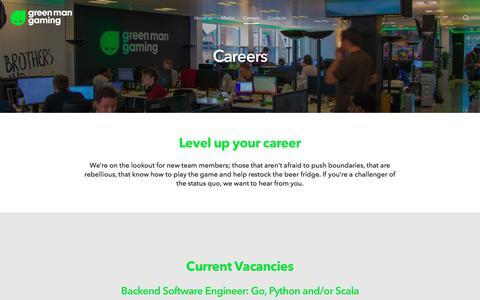 Screenshot of Jobs Page greenmangaming.com - Careers – Green Man Gaming - captured Sept. 4, 2019