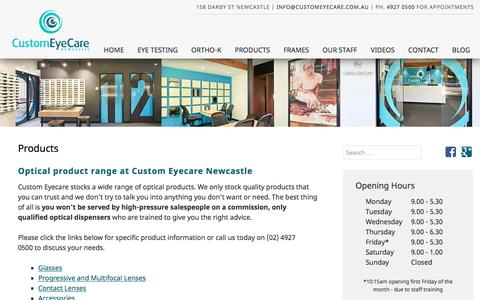 Screenshot of Products Page customeyecare.com.au - Newcastle Optometrist Glasses & Accessories - Marketown Optical Newcastle - captured Feb. 12, 2016