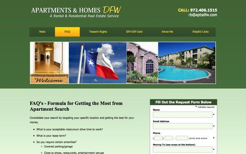Screenshot of FAQ Page apartmentsdfw.com - FAQ | Apartments & Homes DFW - captured Feb. 6, 2016