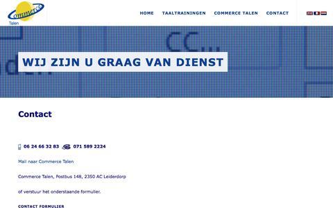 Screenshot of Contact Page commercetalen.nl - Commerce Talen   Taaltraining zakelijk Engels, Duits, Frans, Spaans, Nederlands - Contact, commerce, talen - captured July 15, 2016